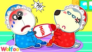 Wolfoo Turned Into a Baby and Pretends to Be a Parent for Pando | Wolfoo Channel Kids Cartoon