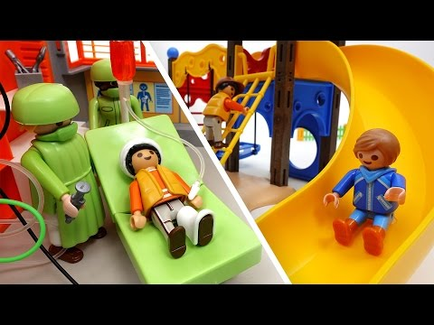 Thumbnail: Be Careful on The Playground~! PLAYMOBIL Playground & Hospital Toys Play