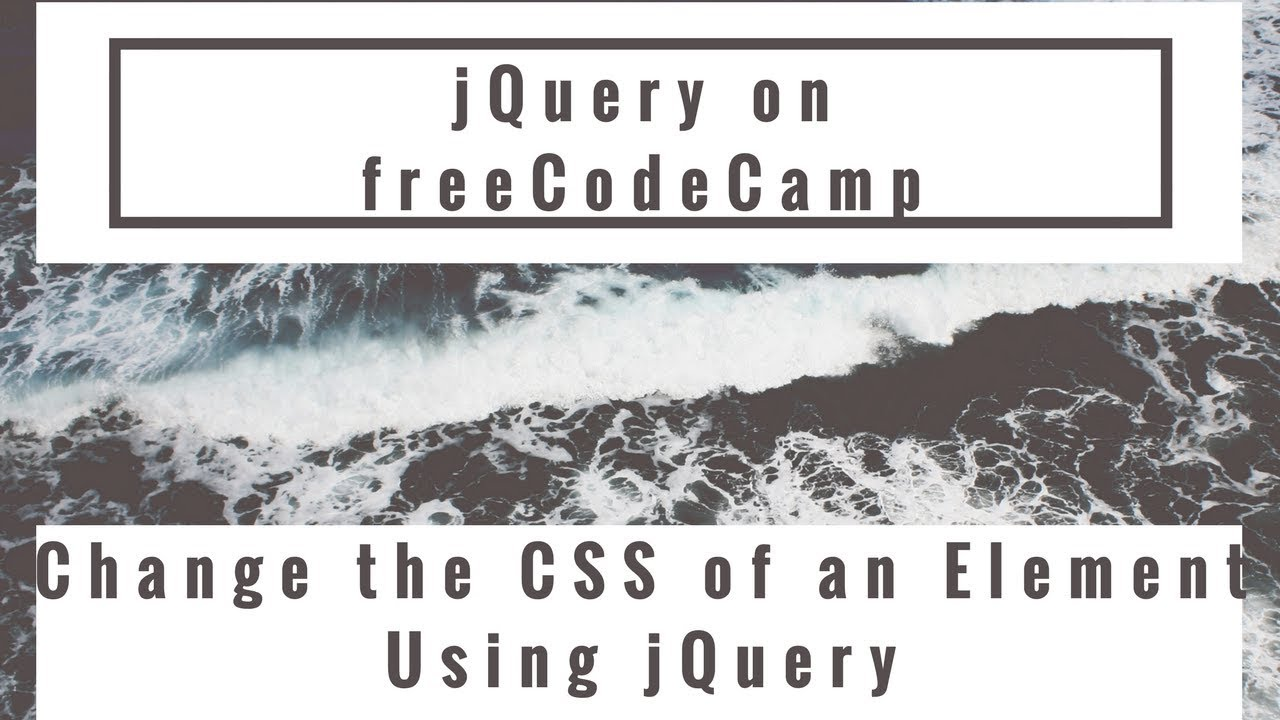 Change the CSS of an Element Using jQuery, jQuery in ...