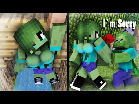 Minecraft Life : Sad Zombie Girl And New Cute Girl | Zombie Life 19 - Minecraft Sad Animation