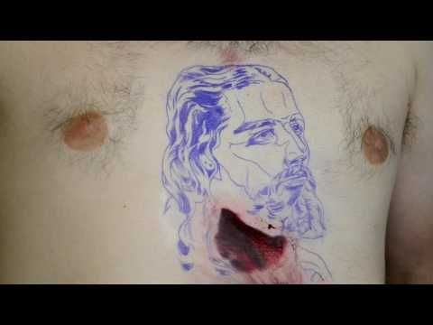 Real-time Tattoo Color Portrait of Jesus