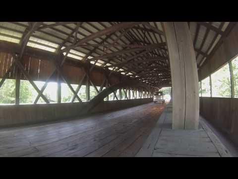 Vintage VW Bus on Covered Bridge in Jackson, NH