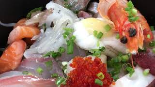 Daily Life Vlog #082|下関の鮮魚店が経営する居酒屋さん「おかもと」の海鮮丼|Splice App,  iPhone 7Plus, GoPro Hero7 Black