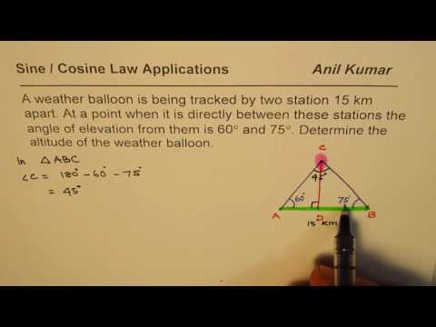 Find Altitude of a Weather Balloon Sine Law Application