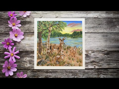 Easy Acrylic Landscape Painting / Deer Painting / Sunset