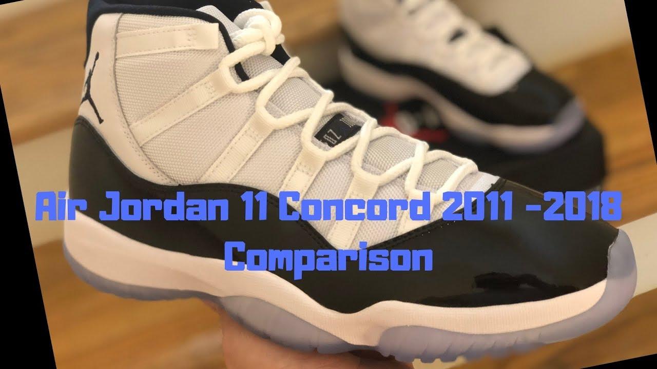 newest a61e9 3774a Air Jordan 11 Concord 2018 2011 Comparison Review