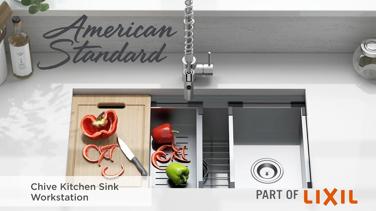 Chive 33x22 Inch Stainless Steel Kitchen Sink Workstation American Standard