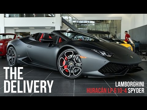 Delivery of a 2016 Lamborghini Huracan 610-4 Spyder in Nero Nemesis