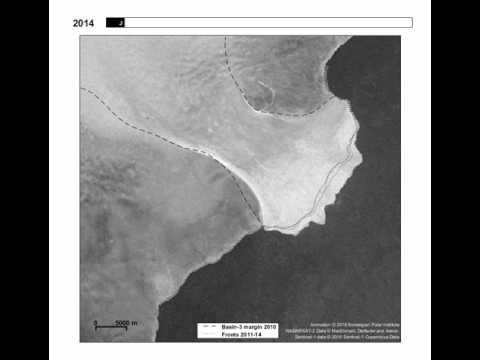 Glacier surge: Austfonna, Svalbard, 2011–2016 (satellite image timelapse)