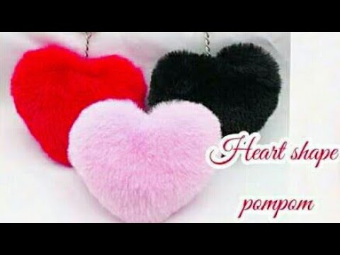 How to make heart shape pompm | woolen handmade craft / home decoration ideas