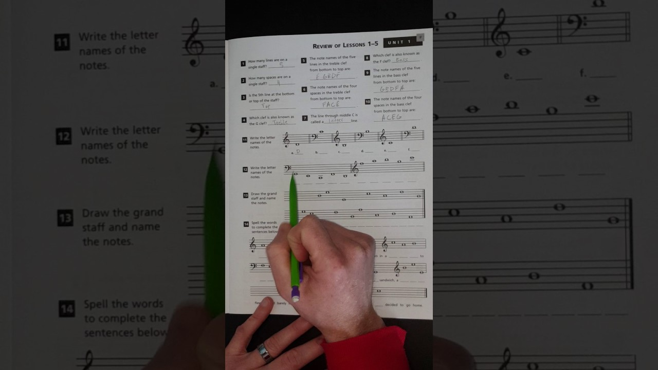 Alfred S Essentials Of Music Theory Unit 1 Review Youtube