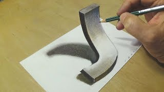 Very Easy - Drawing 3D Letter J - Trick Art with Charcoal pencil - VamosART