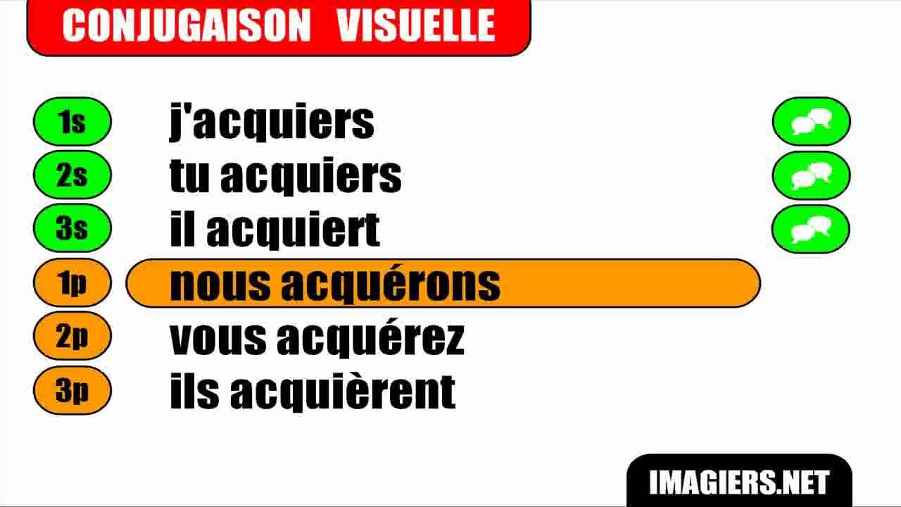 Conjugaison Indicatif Present Verbe Acquerir Youtube