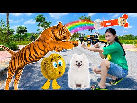 gửi hàng đi mỹ - Changcady và cái đèn pin thân kỳ, biến ra các con vật, bị con hổ đuổi - Part 296