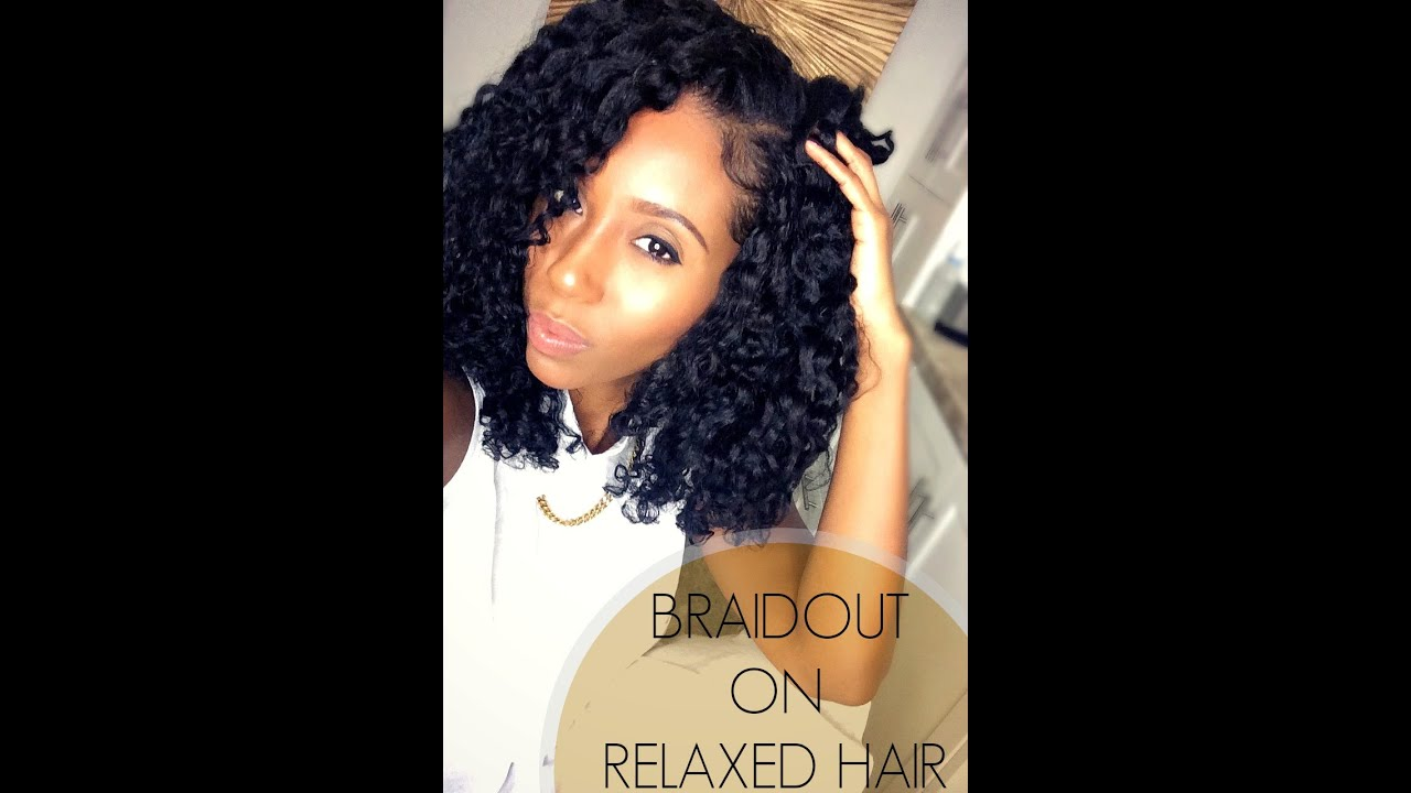 Perfect Braidout on Relaxed Hair - YouTube