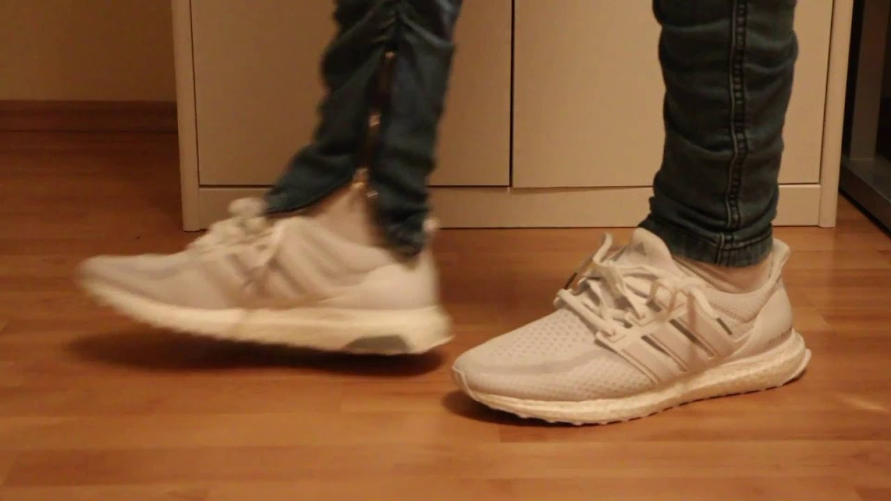 dc8aef9b05b ... Adidas Triple white Ultra Boost 2.0 unboxing W  On Foot Review - YouTube
