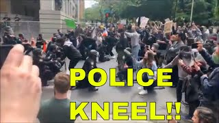 POLICE KNEEL WITH PROTESTERS REACTION - PORTLAND POLICE, AND LEXINGTON POLICE AND TEXAS