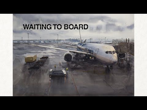 Waiting to board - Scenery with large scale hard surface object