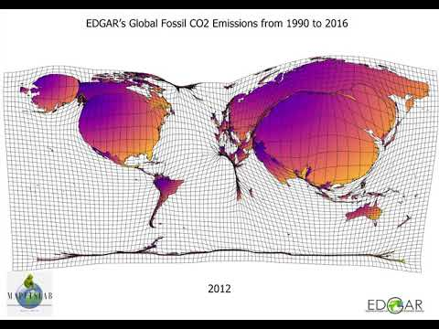 EDGAR's Global Fossil CO2 Emissions from 1990 to 2016
