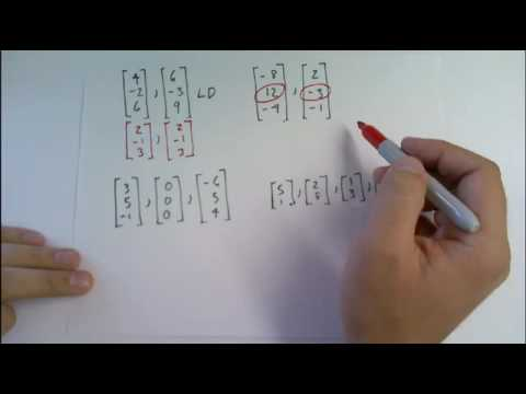 Determine by inspection whether the vectors are linearly ...