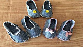 Sapatinho de Bebê feito de calça jans