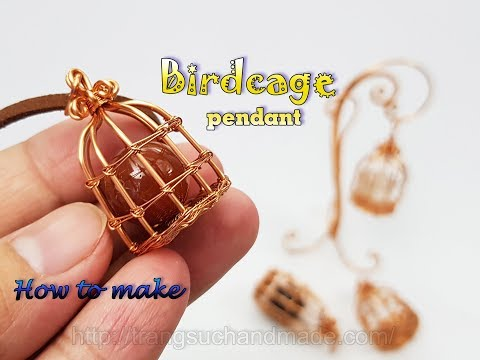 Bird cage pendant with large spherical stone no holes 472