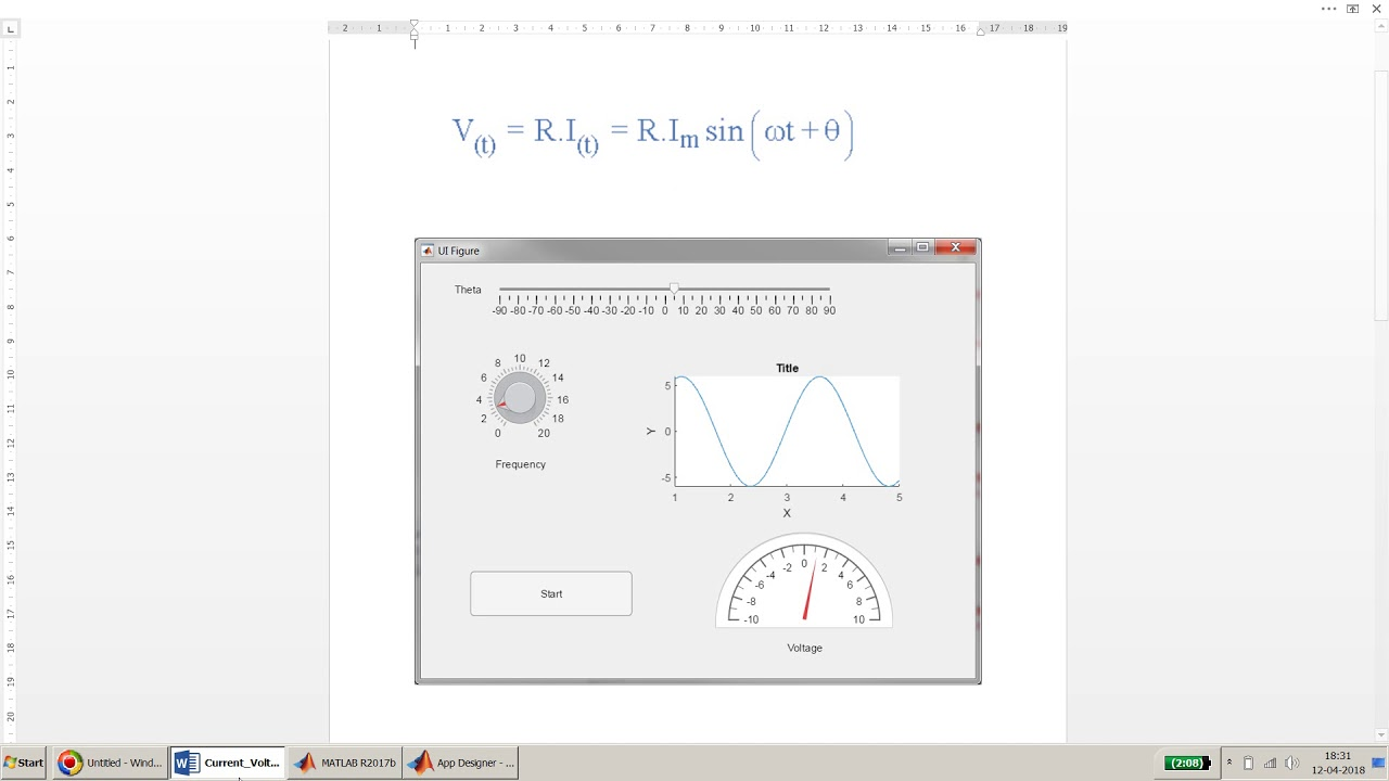 How to plot in UIAxes and demo of slider, knob and Gauge in App Designer in  MATLAB