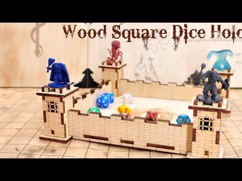 DIY Wood Square Dice Holder Cool 3D Castle Design Carved Dragon Eye - Easy Rolling