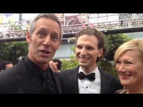 Michael Gill, Sebastian Arcelus, Jayne Atkinson 'House of Cards' on Emmys red carpet