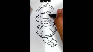 Drawing jumping manga girl