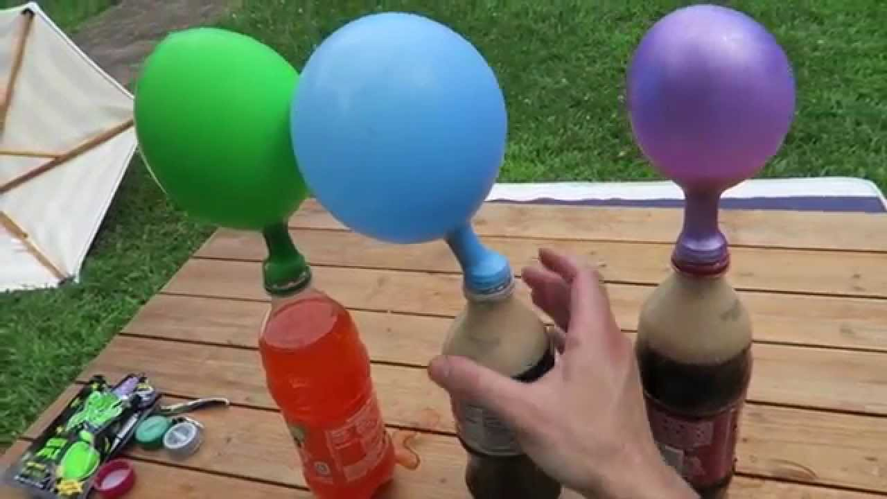 inflate a balloon using poprocks and soda and mentos youtube