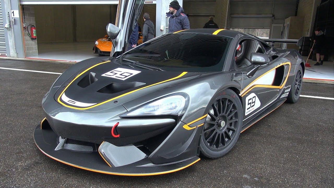 McLaren 570S GT4 - LOUD Start Up, Revs, Accelerations on Track ...
