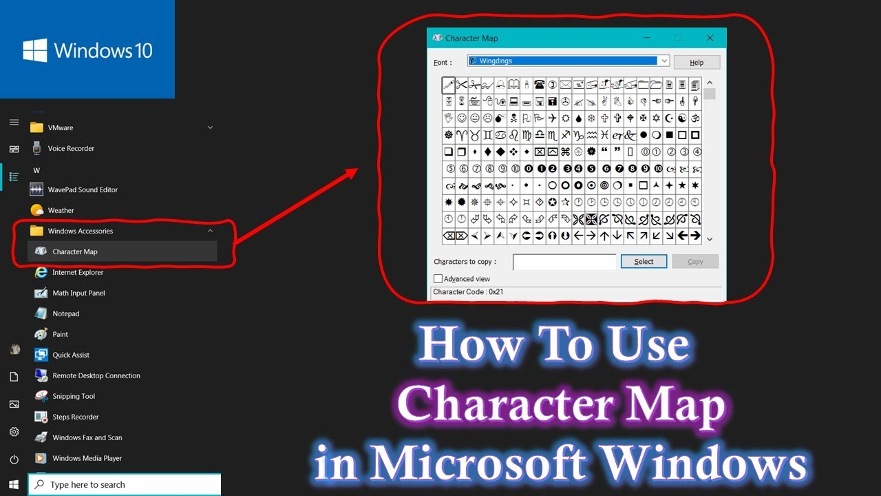 Windows Character Map How to Use Character Map in Windows 10 / 8.1 / 8 / 7 / XP Tutorial