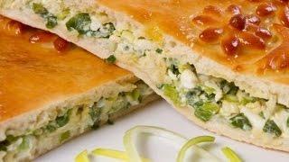 Быстрый - заливной пирог с зелёным луком и яйцом