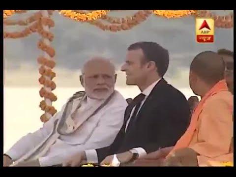 PM Narendra Modi and French President Emmanuel Macron on a boat ride in Varanasi