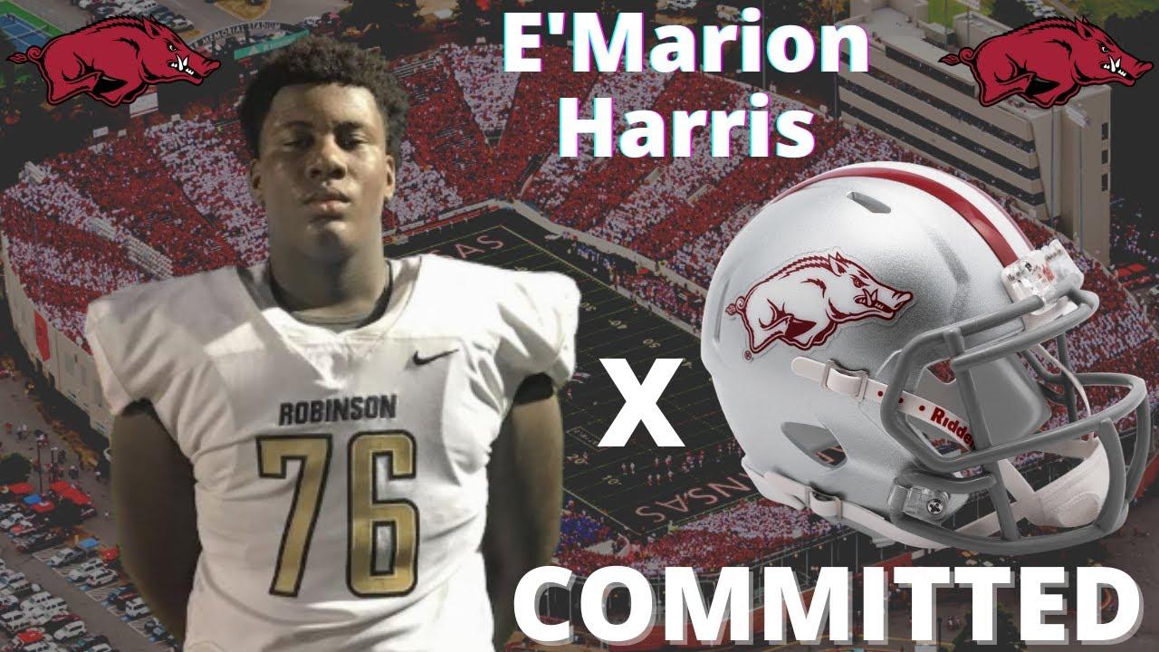 E'Marion Harris ⭐⭐⭐⭐ OT Commits to Arkansas Razorbacks Breakdown | TDS Commit Show