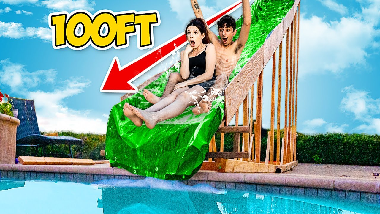 We Built The Biggest Backyard Water Slide Ever World Record Youtube