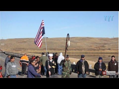 U.S. Flag Hoisted Upside Down In Dakota Access Protest