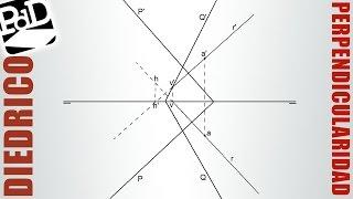 Plano perpendicular a otro, conteniendo un punto (Sistema Diédrico).
