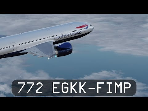 Prepar3d V4.1 - British Airways 777-200LR - Gatwick to Mauritius (EGKK-FIMP)