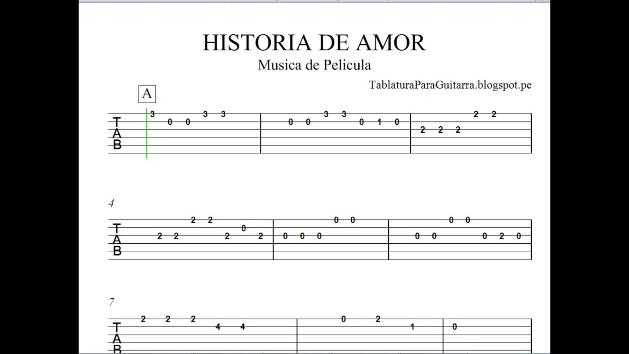 Historia de Amor (Love Story) - Tablatura para Guitarra - YouTube