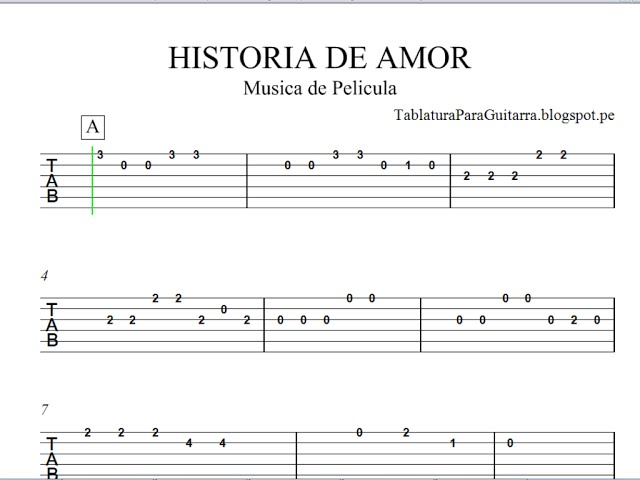 Historia de Amor (Love Story) - Tablatura para Guitarra