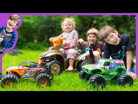 RC Monster Truck Vs. Baby Race