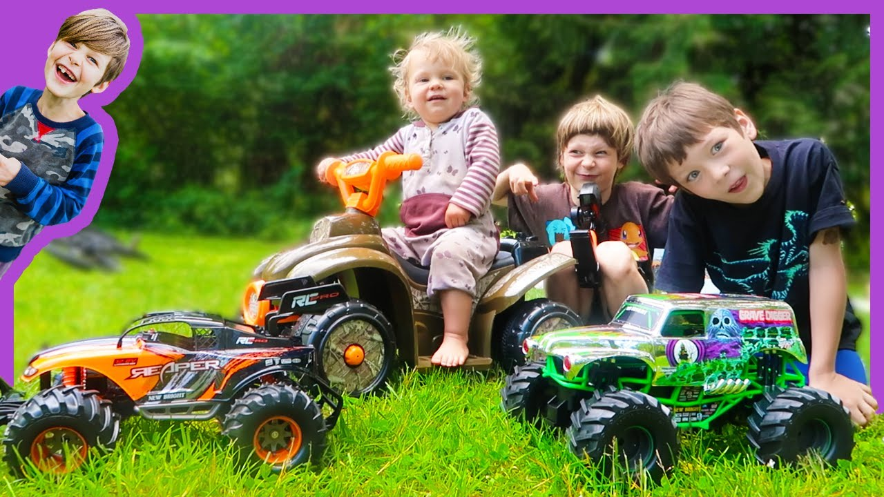 Rc Monster Truck Vs Baby Race Youtube