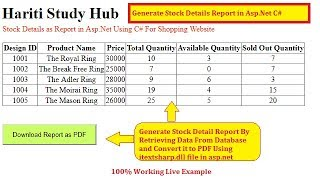 Generate Stock Report For Shopping Website as PDF in Asp.Net C# | Hindi | Free Online Learning