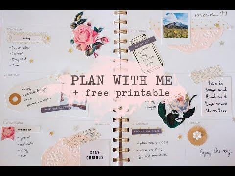 Plan With Me + Free Printable   Vintage Rose Spread
