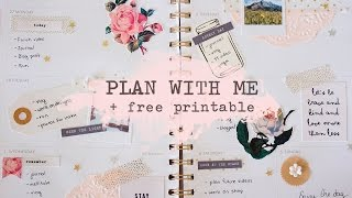 Plan With Me + Free Printable | Vintage Rose Spread