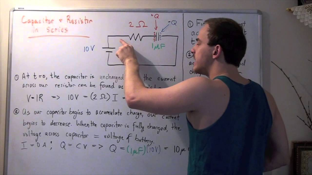Circuit Example 2 Resistor And Capacitor In Series Youtube Resistors Capacitors A