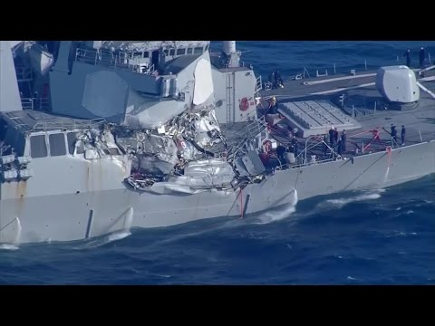 US Navy Destroyer Takes On Water After Collision Off Japanese Coast
