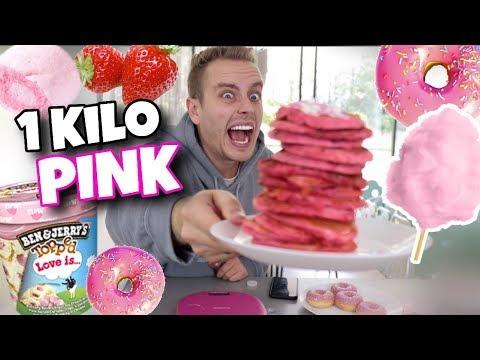 Ich esse 1 Kg PINKE Lebensmittel in 25 Minuten .. 😵🤢